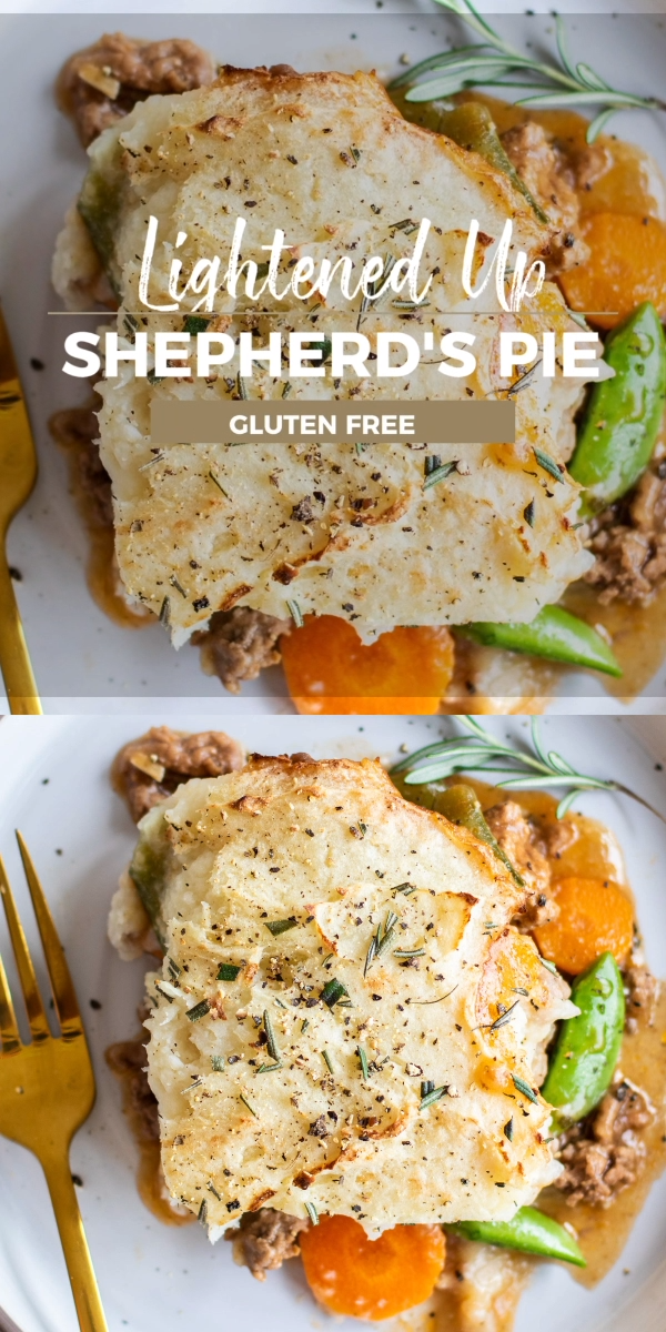 A Whole30 Shepherd's Pie, filled with a protein rich beef, carrot and snap pea mixture, and a light cauliflower-potato crust. The perfect spring ground beef casserole! Whole30 casserole | SUNKISSEDKITCHEN.COM | #SunkissedKitchen #whole30casserole #shepherdspie #whole30dinner #beefcasserole
