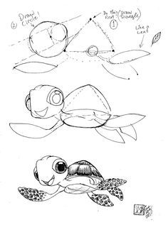 Draw Squirt the Sea Turtle from Disnqey Pixars Finding Nemo by