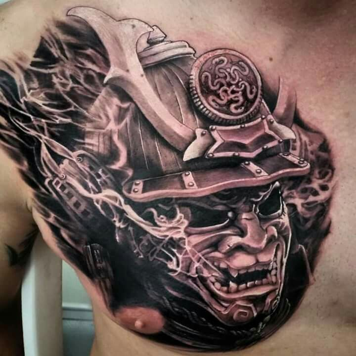 Tattoo By Fernando Souza Oni Warrior Chest Tattoos Black