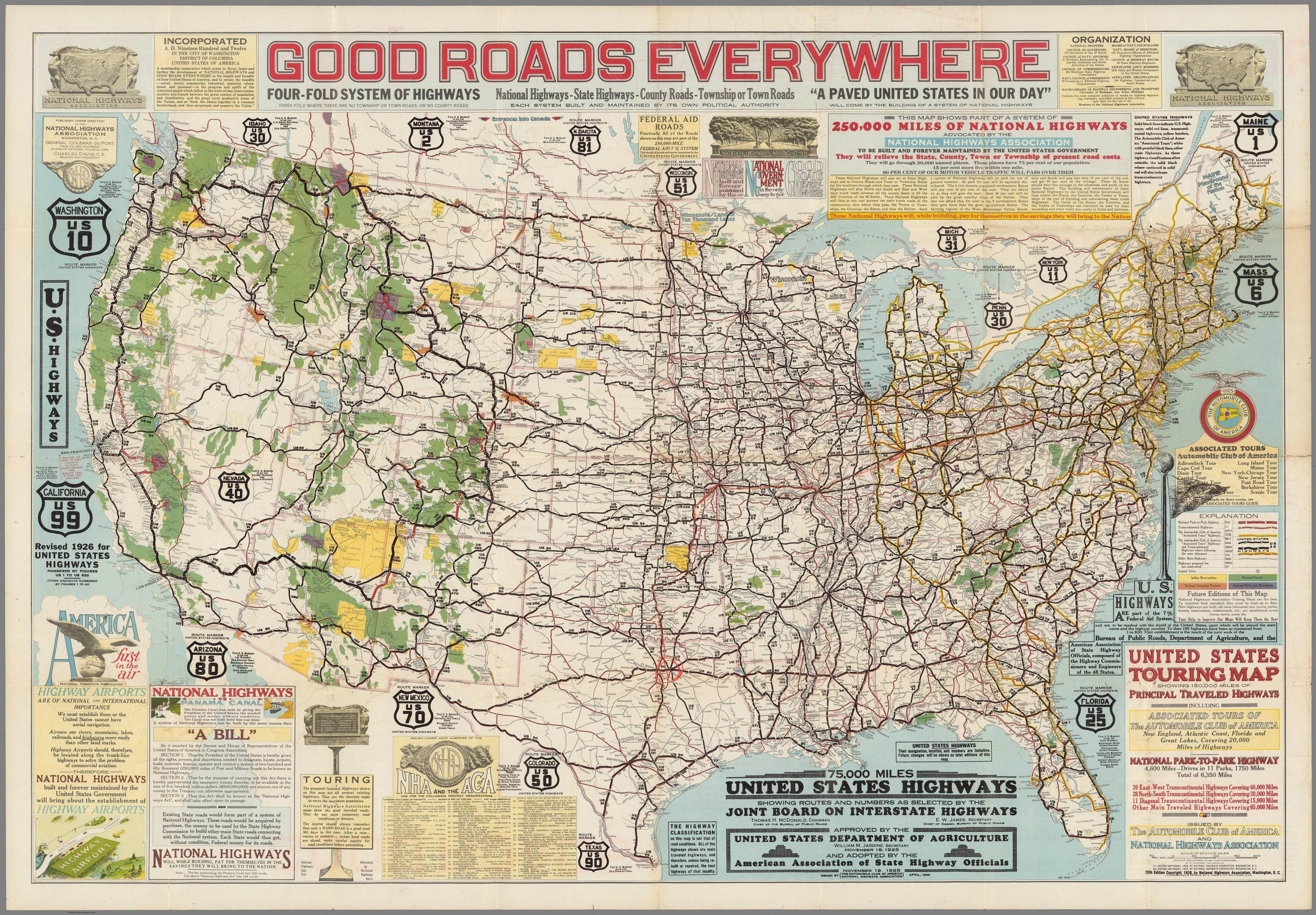 1925 map of United States Highways | mapmania | Highway map, United ...