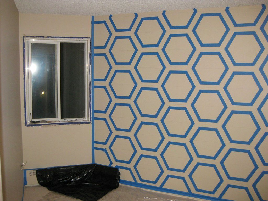Hexagons Wall Hexagon Wall3 Diy Hexagon Wall Art With Painters