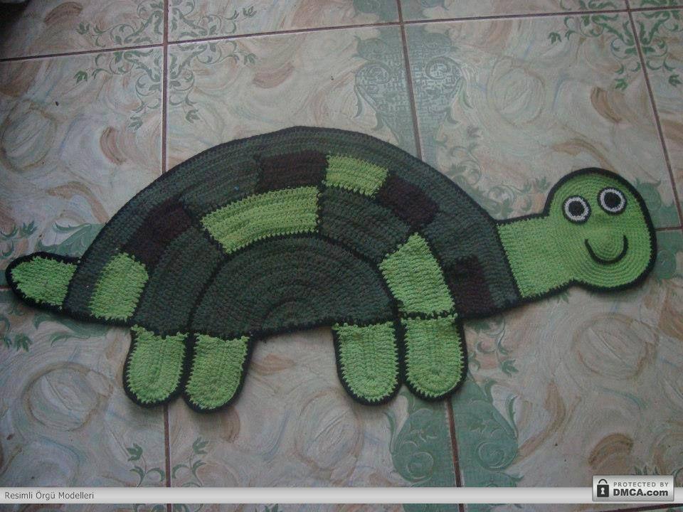 Kaplumbağa modelinde örgü paspas modeli