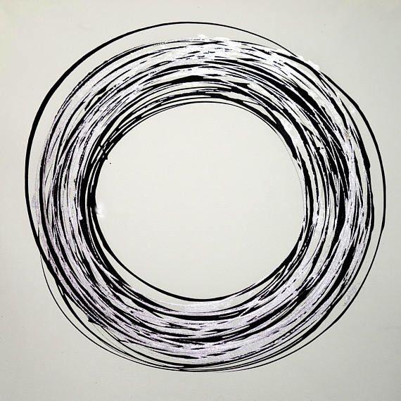 11237 Circle black & silver 100 x 100 cm Dieses Gemälde