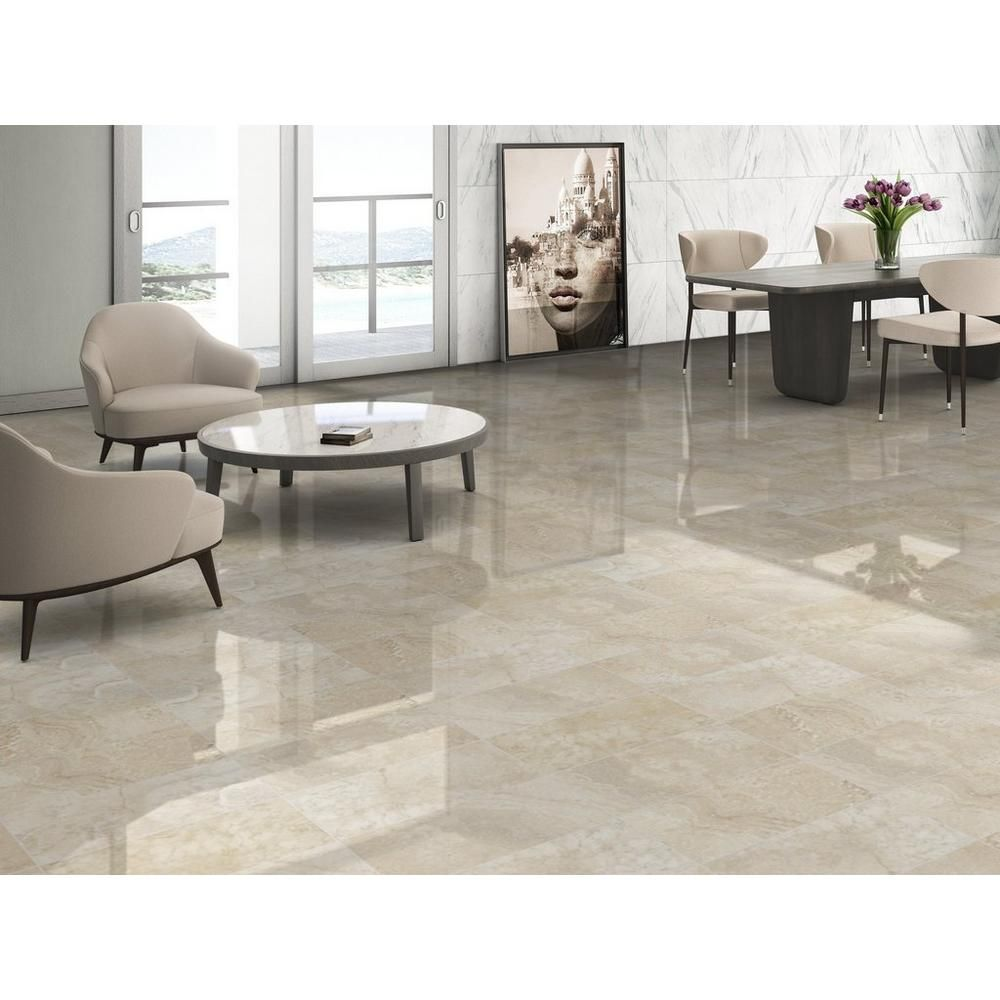 Elegance Cream Polished Porcelain Tile In 2020 Polished Porcelain Tiles Marble Flooring Design Porcelain Tile