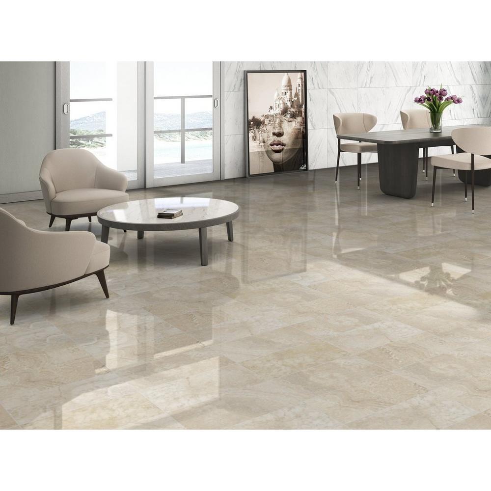 Elegance Cream Polished Porcelain Tile In 2020 Polished Porcelain Tiles Marble Flooring Design Living Room Tiles