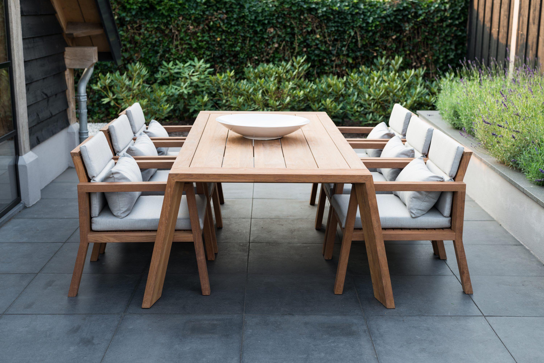 Teun Teak Low Dining Set Royal Design Exclusieve Buitenmeubelen In 2020 Tuinsets Tuintafels Tuinmeubilair