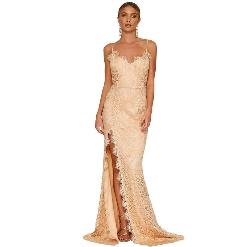 f6620ec19fec Sexy Lady Evening Dress 2018 Spaghetti Straps High Split Backless Straight Formal  Gown CG00727 Solid Color Lace robe de soiree