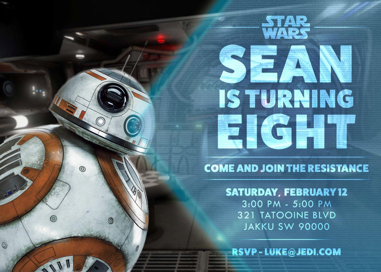 Star Wars Bb 8 Secret Message Birthday Invitation