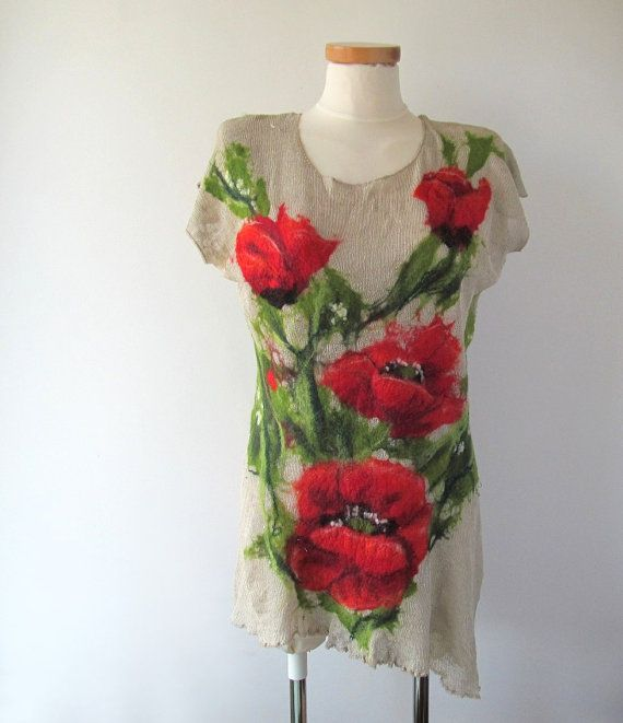 Linen Felted Tunic Knit Felt Vest Jersey Top Poppy Red