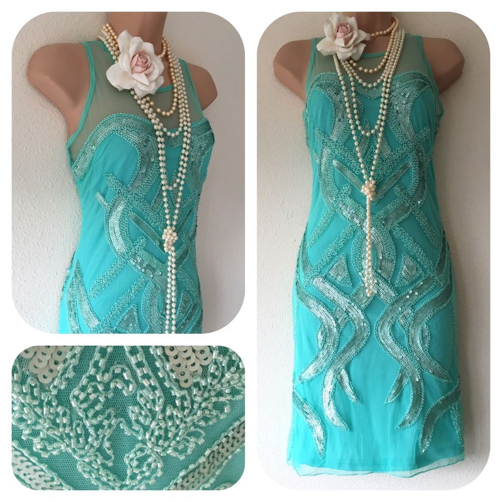 NWT sequin beaded Embellished Flapper 20\'s Gatsby fancy Dress 8 10 ...