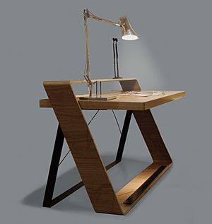 [Bulego Writing Desk by abad diseno] Gawd, this is wonderful! I just love  those strong angles in counterpoint, I love the horizontal wood grain, ...