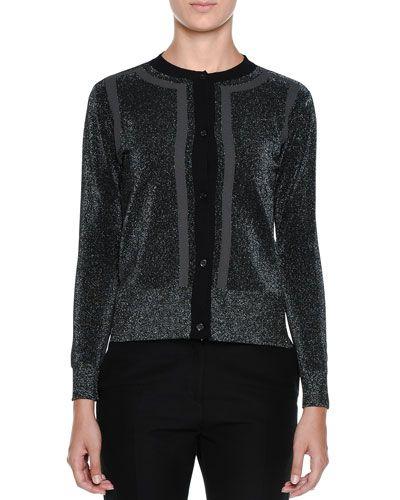 MARNI Metallic-Knit Long-Sleeve Cardigan Sweater, Black. #marni #cloth #