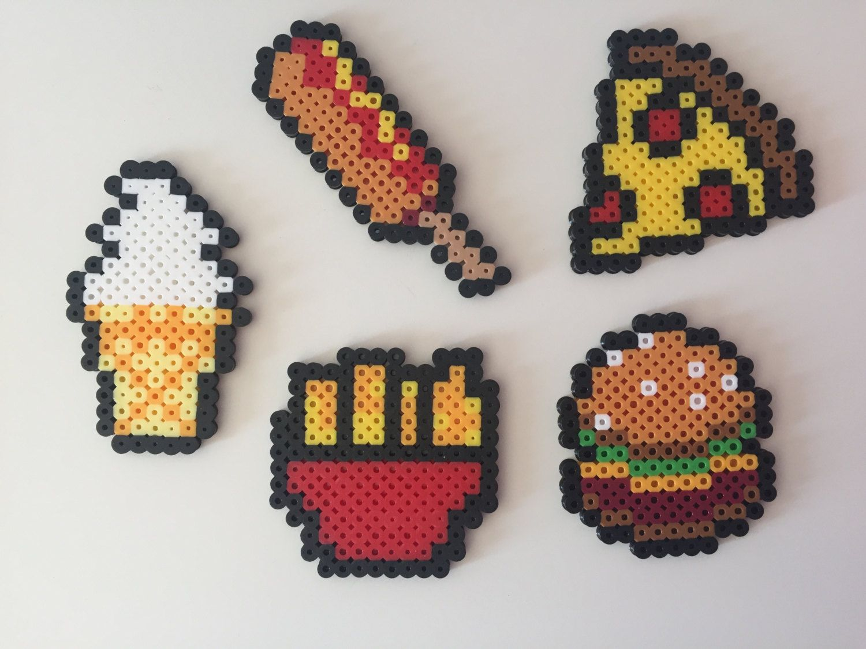 Fast Food: Hamburger Fries Pizza Corn Dog Ice Cream Perler