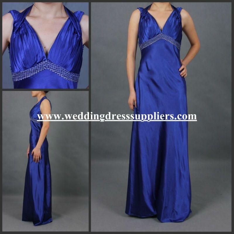 SE18 New Blue V-neck Open Back Beadwork Floor Length Evening Dress US Size 2.4.6 #Beadwork, #dress