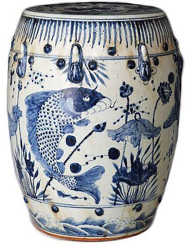 Phenomenal One Kings Lane Fish Motif Garden Stool Navy White Creativecarmelina Interior Chair Design Creativecarmelinacom