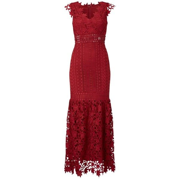 Phase Eight Collection 8 Sauvan Lace Dress, Scarlet (£325) ❤ liked on Polyvore featuring dresses, red lace cocktail dress, v neck cocktail dress, red lace dress, beaded cocktail dress and cap sleeve cocktail dress