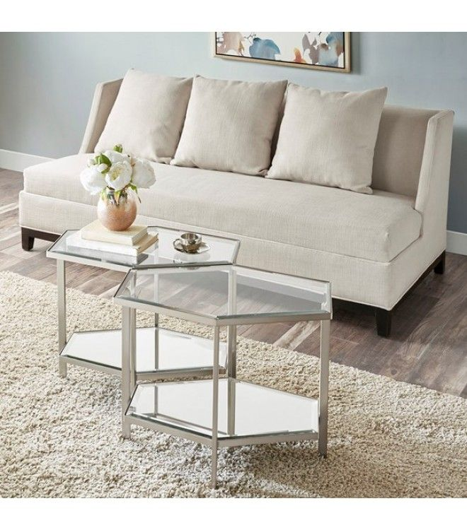 Silver Frame Glass Top Hexagon Bunching Table Gold Sofa Coffee Table Living Room Coffee Table