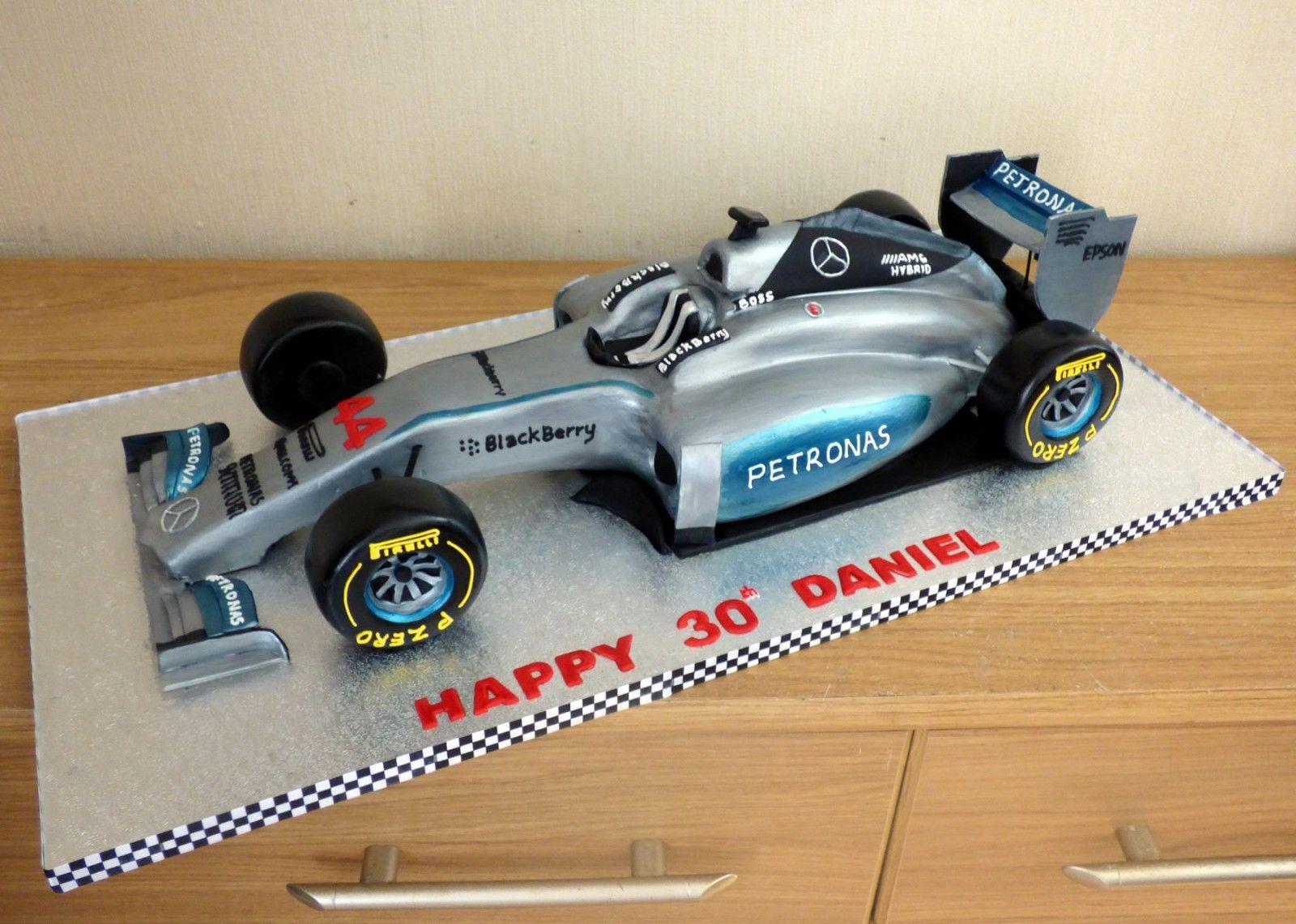 Lewis Hamiltons Mercedes F1 Race Car Cake Sponge Poole Dorset Birthday