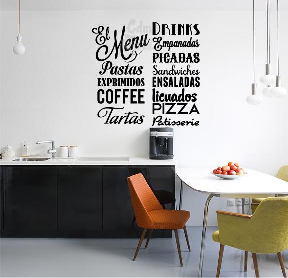 Vinilo decorativo cocina menu comidas tipografico - Vinilos para cocinas modernas ...