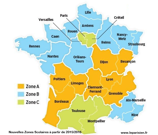 Calendrier vacances scolaires 20192020 Me on a map