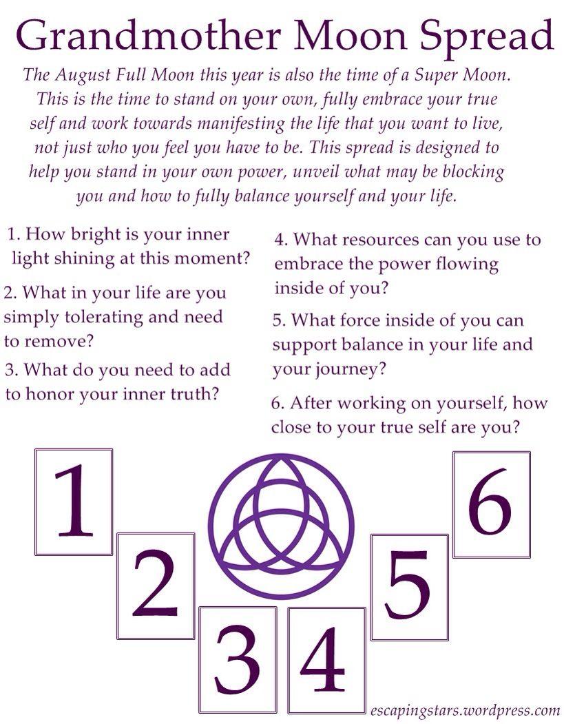 Grandmother Full Moon Spread | Tarot | Tarot spreads, Tarot