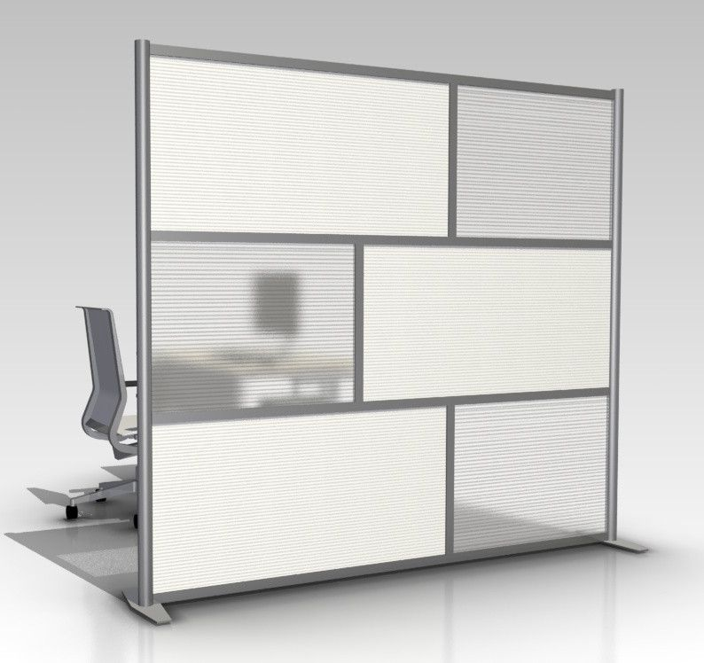 "Wall Dividers For Living Room Glass Partition Divider: 84"" Wide X 75"" High Office Room Divider, Office Partition, White & Translucent"