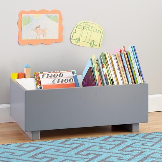 Good Kids Book Bins: Grey Book Storage Bin In Bookcases