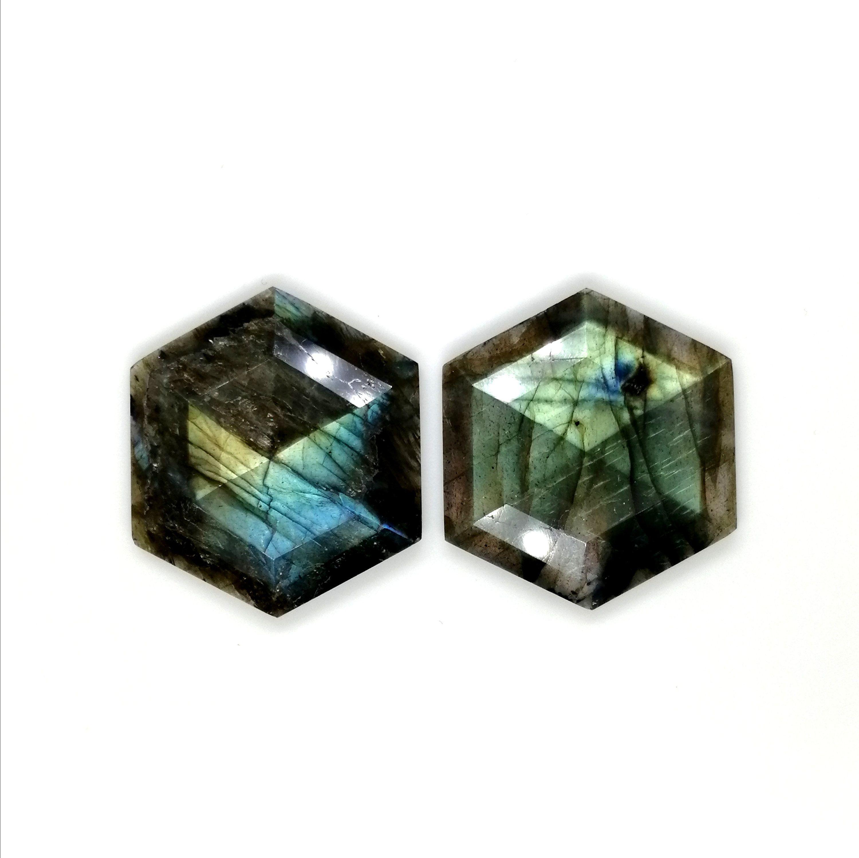 Hexagon Gemstone Rutilated Quartz Stone Cabochon Gemstone Rutilate Hexagon Faceted