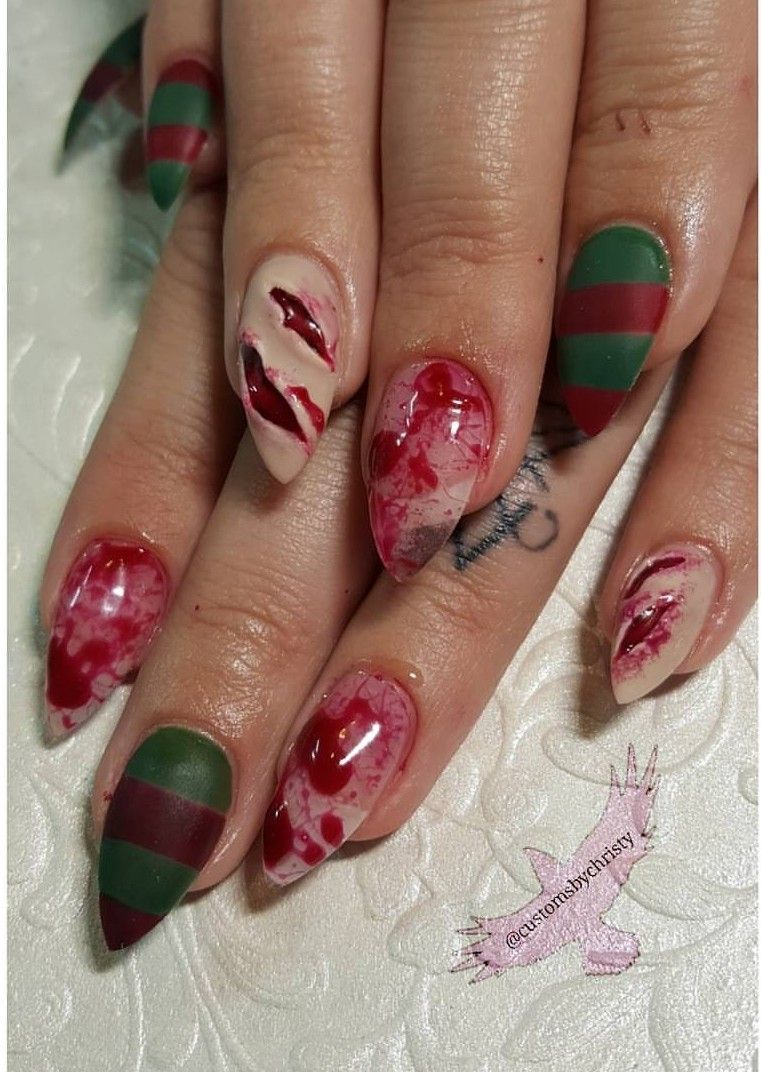 Freddy Krueger hand painted nail art 3D nails @customsbychristy ...