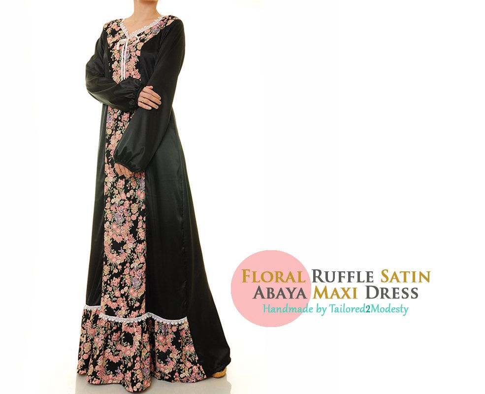 Summer floral black lightweight satin long sleeved abaya maxi dress