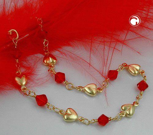 Armband, Fantasie, Glasperlen rot, AMD  mit roten Glasperlen und kleinen Herzen ca. 6mm