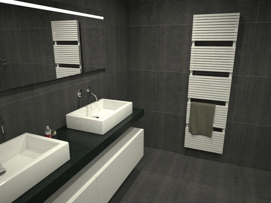 Afbeeldingsresultaat voor badkamer donkere tegels | badkamer ...