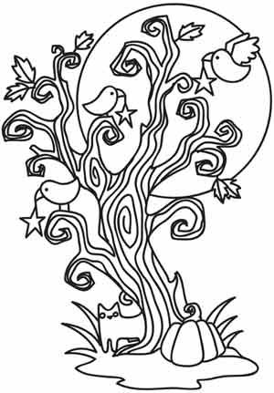 Spooky Tree Portrait Tree Coloring Page Paper Embroidery