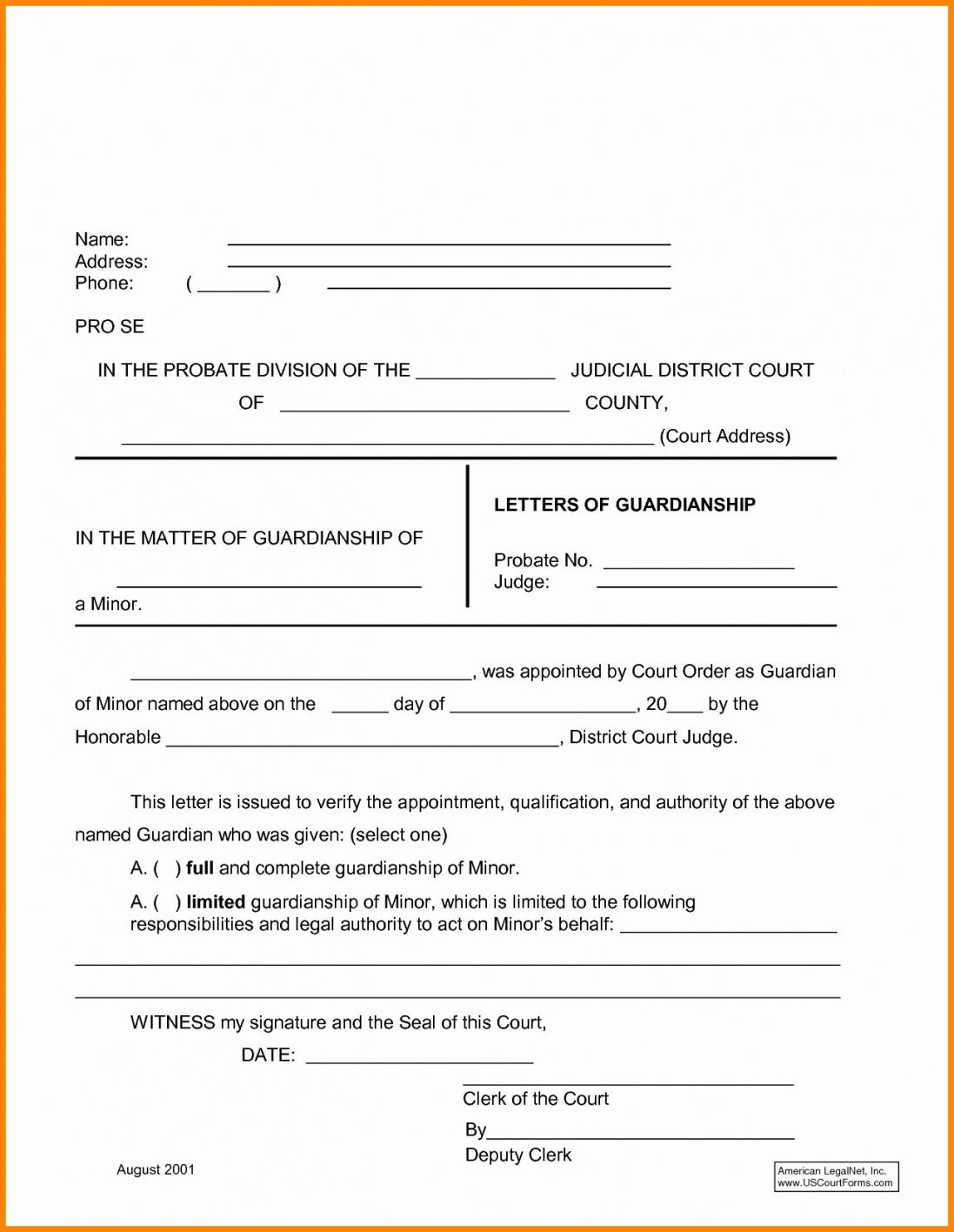 Temporary Guardianship Letter Template In 2020 Letter Templates