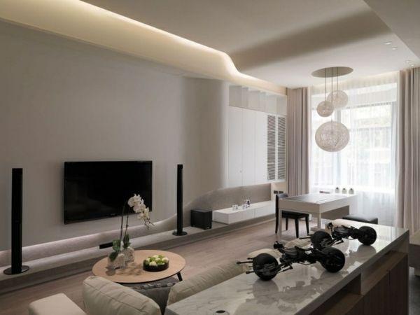 Beleuchtung Ideen helle Farbe weiße Wände Decke Wohnung