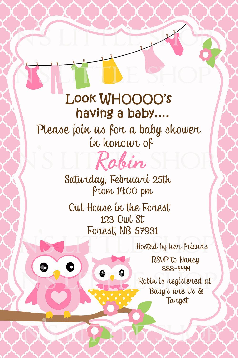 Pink owl baby shower invitation card customize printable 1000 pink owl baby shower invitation card customize printable 1000 via etsy stopboris Image collections