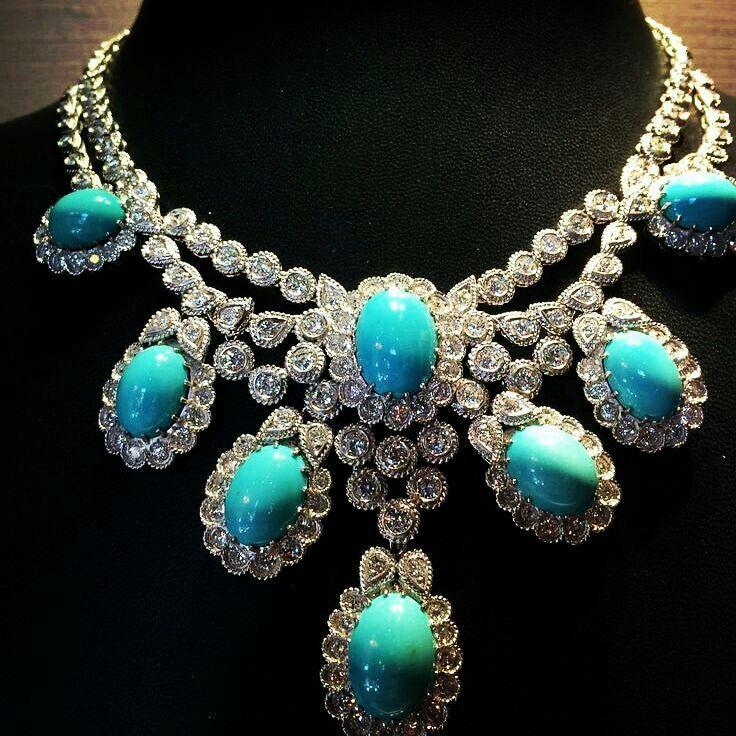 Thejewellcloset Stunning Diamond Turquoise Necklace Jewelry Beautiful Jewelry Turquoise Jewelry