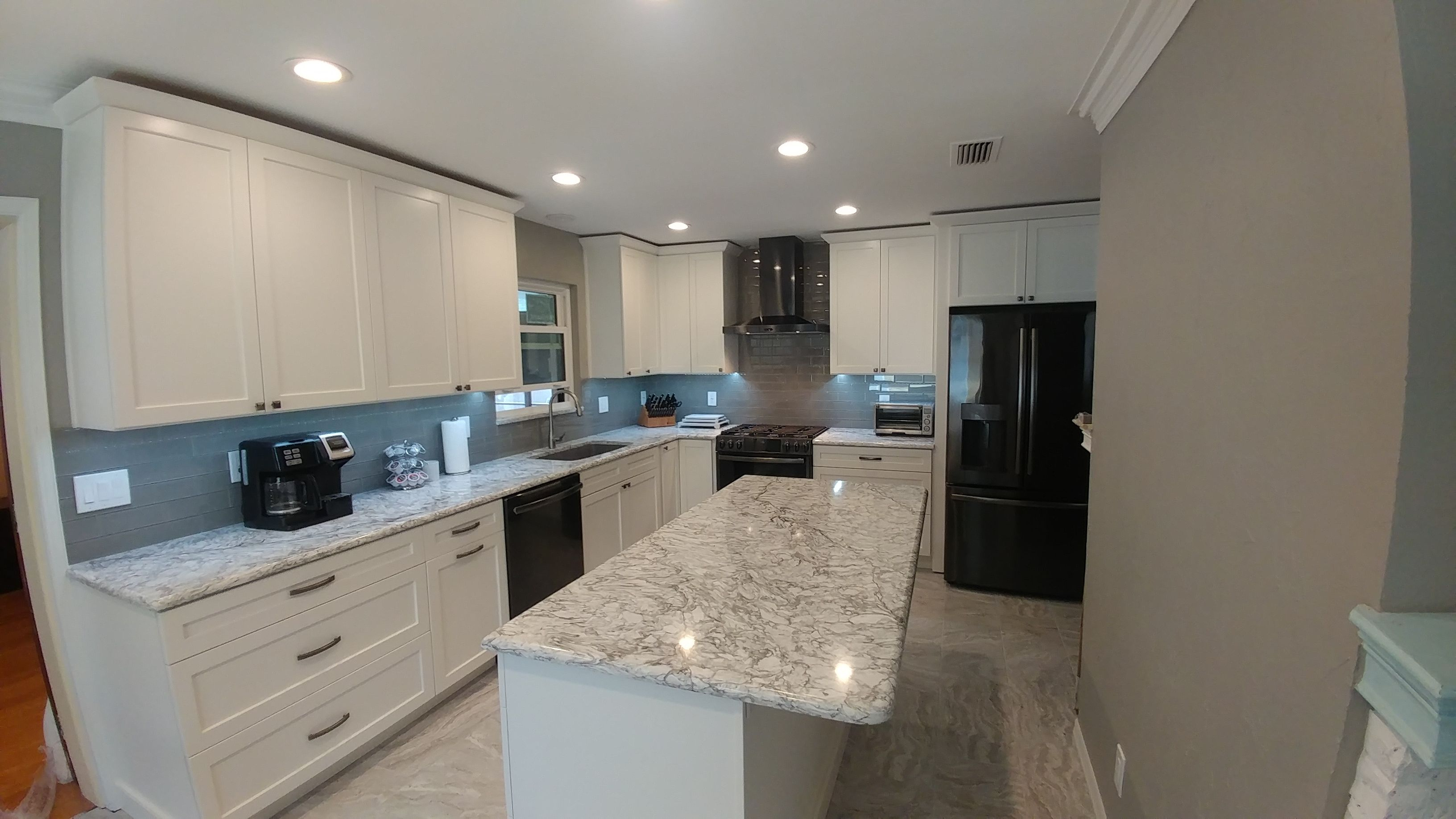 Bright White Shaker Cabinets By Eudora American Made From Alabama New Light Subtle Tile Floors G White Shaker Cabinets Glass Subway Tile Backsplash Cabinet