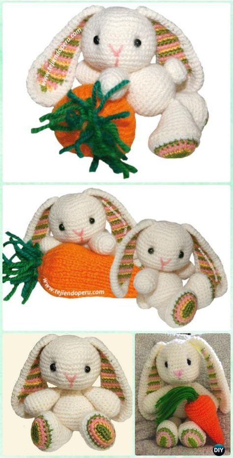 Crochet Amigurumi Easter Rabbit Bunny Toy Free Pattern #Crochet ...