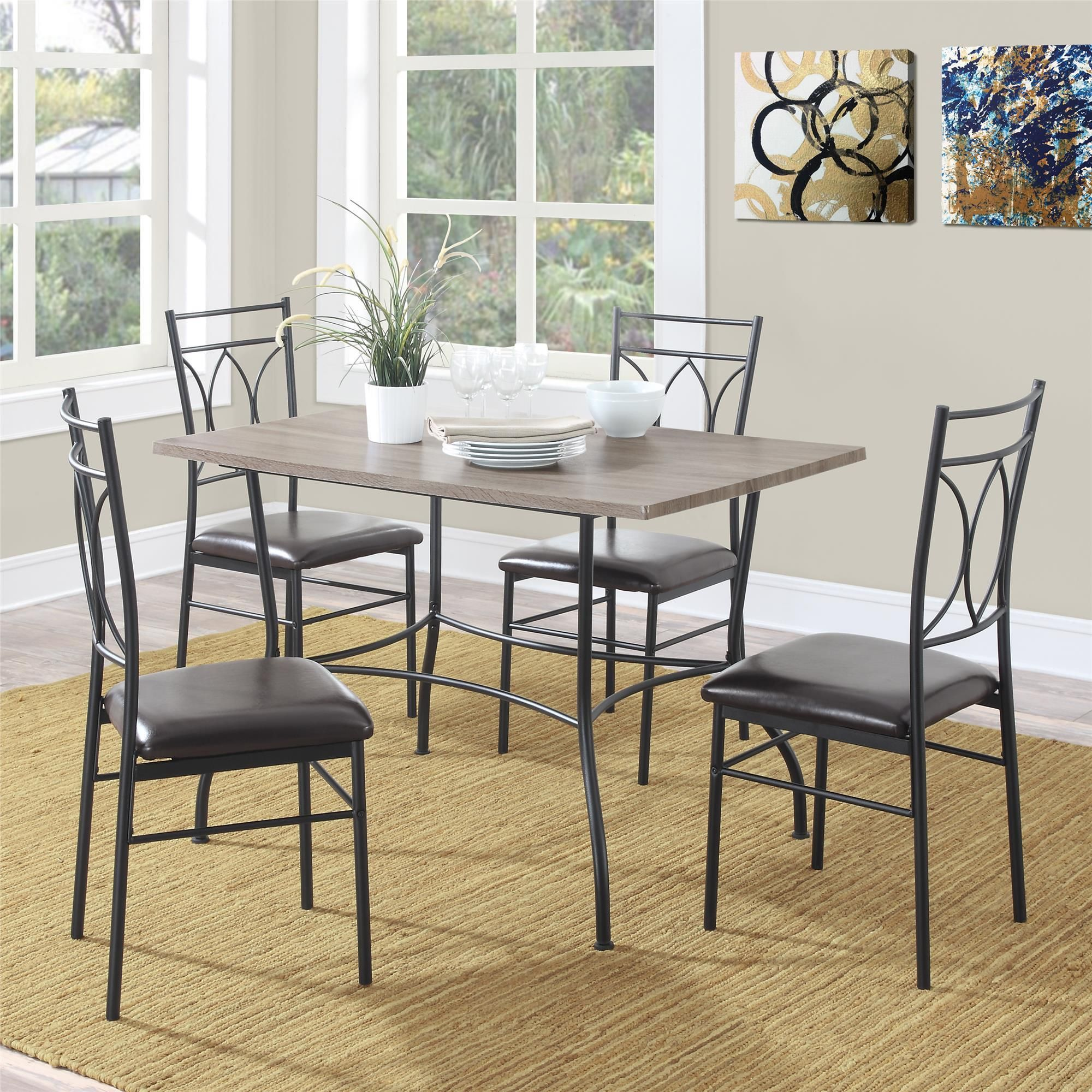 Dorel Living Shelby 5-piece Rustic Wood And Metal Dining