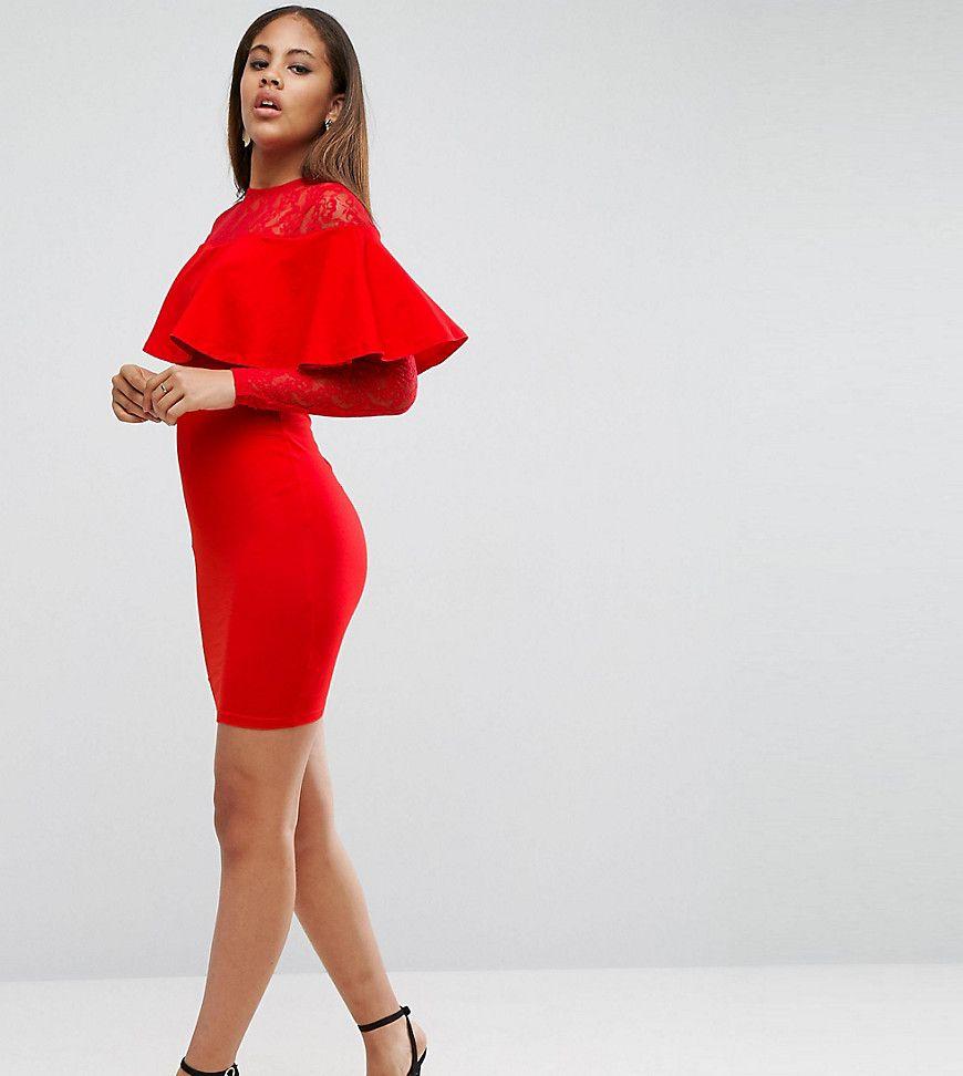 Asos high low ruffle bodycon mini dress