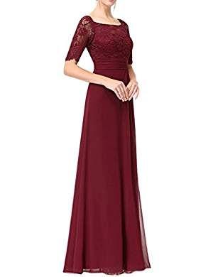 missdressy elegant lang chiffon spitze kurzarm schlitz mutterkleid hochzeitsgast kleid