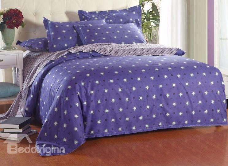 Black and White Polka Dot with Blue Background Reversible 4-Piece Cotton Duvet Cover Sets