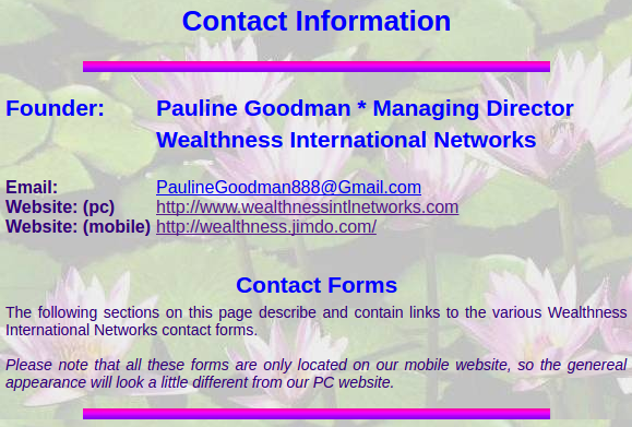 Contact Information - Wealthness International Networks - Email and ...