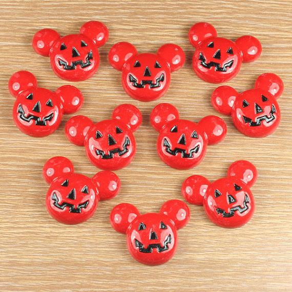 10pcs Mickey Mouse Pumpkin Halloween Party Cabochons Resin Flatbacks Scrapbooking Hair Bow Center Crafts Making Embellishments DIY