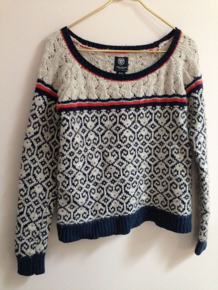 American Eagle Womens Sweater Size M Wool Blend Blue Red Cream
