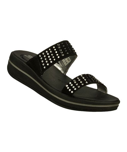 Look at this Skechers Black Rhinestone Sandal on #zulily today!