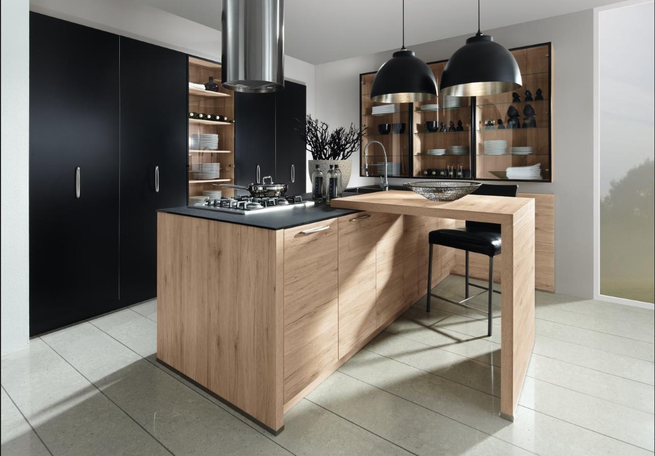 Cuisine Bois Et Noir Cuisine Bois Deco Zen Plan De Travail Noir - Les cuisiniers pour idees de deco de cuisine
