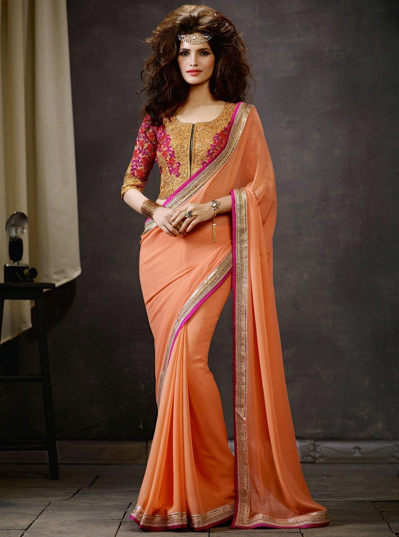 Designer Saris online shopping in USA UK CanadaBuy Orange