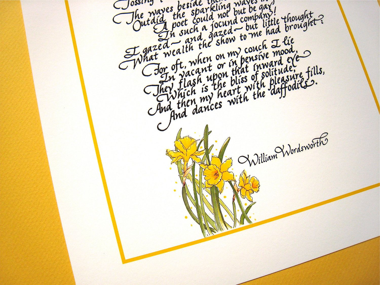 Daffodil Calligraphy Print Wordsworth Poem English Etsy Romantic Writing Poems What I The Meaning Of Wandered Lonely A Cloud By William